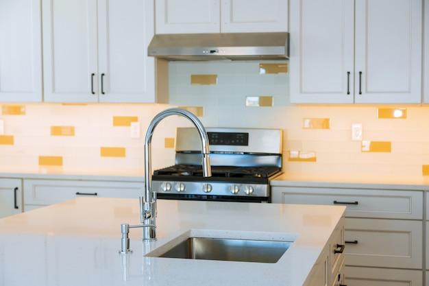 島の流しのステンレス鋼の電気器具が付いているインテリアデザインの明るい現代台所