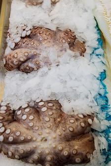 スーパーでディスプレイ立って氷の上の多くの新鮮なタコ