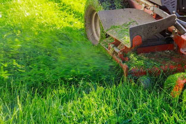 ガソリン芝刈り機を使用して草を刈るのクローズアップ