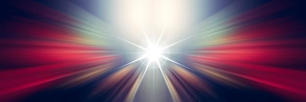 動的な白と赤の光の線。中心点からの光。