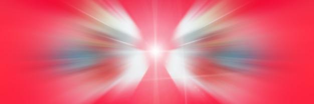 ホワイトエンジェルウィング。動的な赤と白の光の線。中心点からの光。