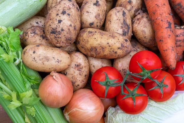 秋の収穫の新鮮な野菜。野菜料理の有用成分。
