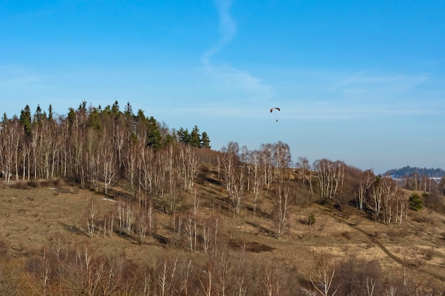 Парашютист в небе над деревьями, растущими на склоне горы в начале весны