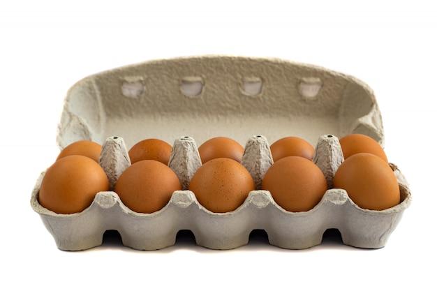 白で隔離紙トレイに卵