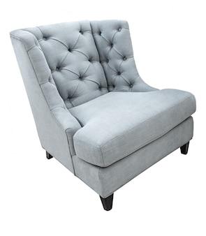 白で隔離される布張りの灰色の古典的なビンテージモダンスタイルのアームチェア
