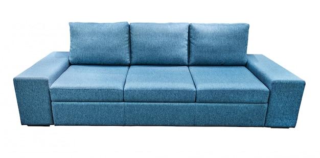 青いソファ柔らかいベロア生地のソファ。