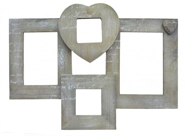 Коричневая деревянная рамка для фотографий с пустым пространством