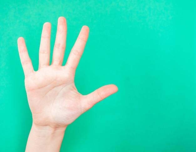 手を示す一時停止の標識