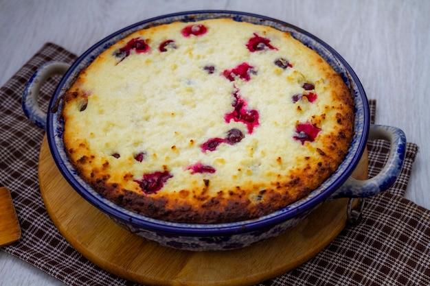 クランベリーとカッテージチーズのキャセロール。