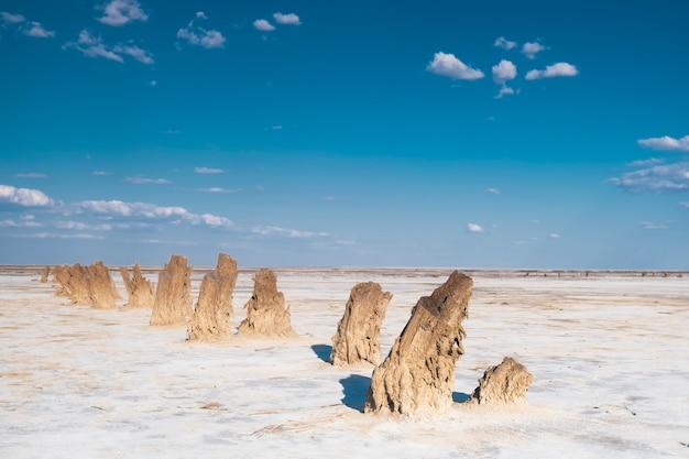 自然の中の海の塩。塩の抽出。塩湖の写真。