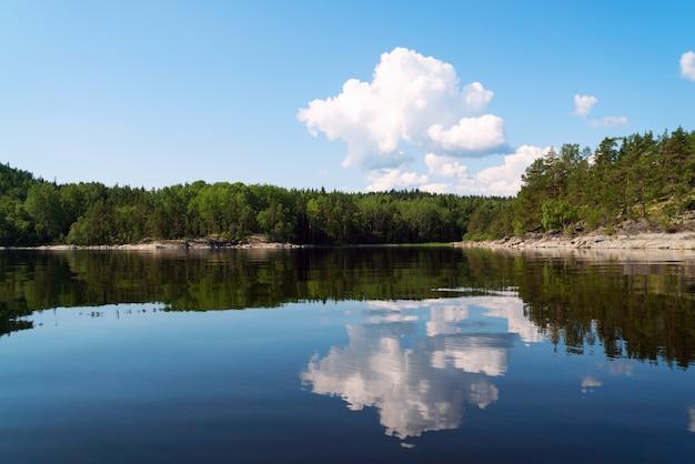 湖の反射で白い雲