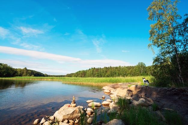Живописный каменный берег острова на озере
