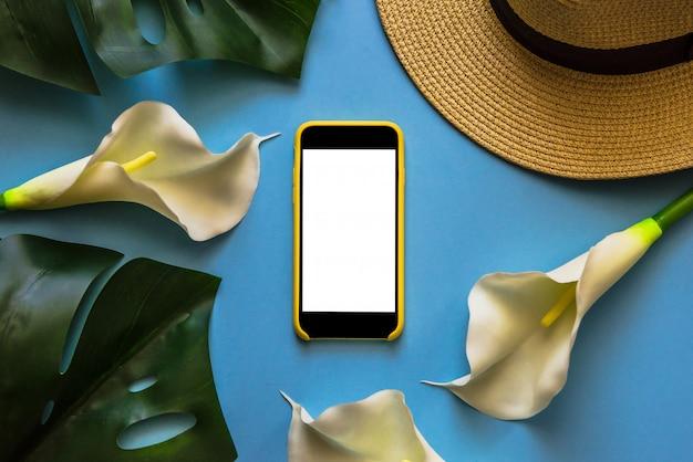 ストロー帽子、トロピカル葉モンスター、ホワイトカラスのスマートフォン