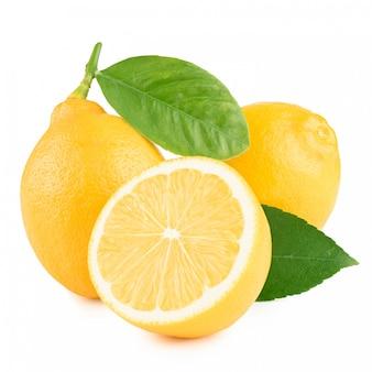 白い背景に葉のレモン
