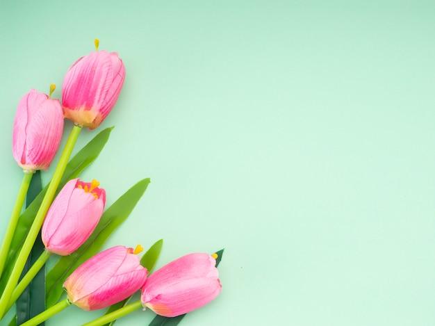 Розовые тюльпаны на зеленом фоне