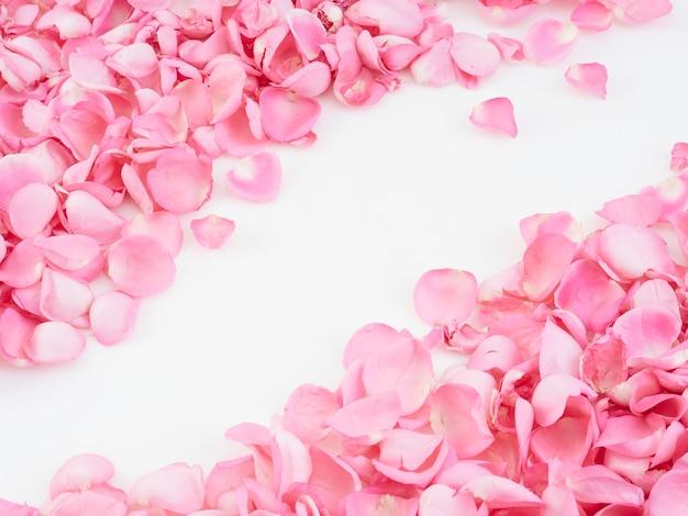 ピンクのバラの花びらで作られたフレーム