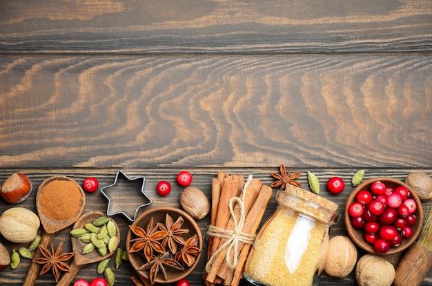 Специи орехи и ягоды для рождественской выпечки