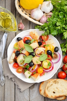 新鮮なトマトとシャキッとしたパンの伝統的なイタリアのパンザネッラサラダ。
