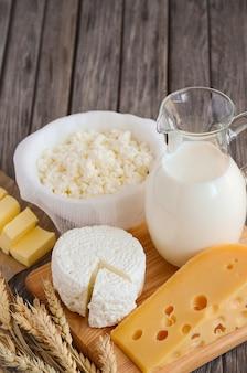 新鮮な乳製品と小麦