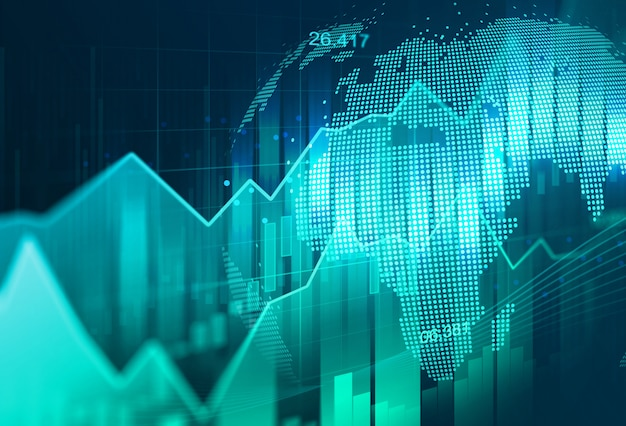 Фондовый рынок или график торговли на рынке форекс в графической концепции, подходящей для финансовых инвестиций или бизнес-идеи экономических тенденций и дизайна всех произведений искусства.