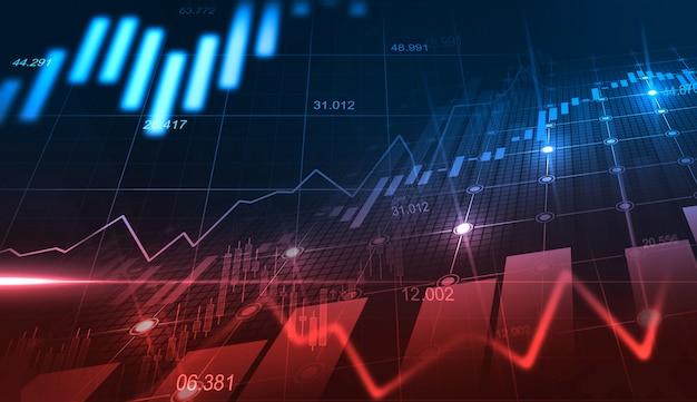 金融投資または経済動向のビジネスアイデアとすべての芸術作品のデザインに適したグラフィックコンセプトの株式市場または外国為替取引グラフ。金融の抽象的な背景