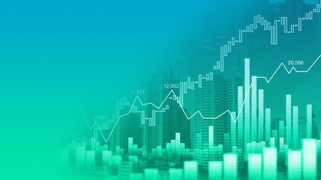 グラフィック二重露出の株式市場または外国為替取引グラフ