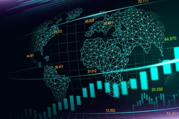 Фондовый рынок или форекс график в футуристической концепции