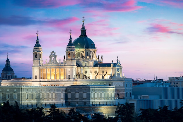 サンタ・マリア・ラ・レアル・デ・ラ・アルムデナ大聖堂と王宮の風景