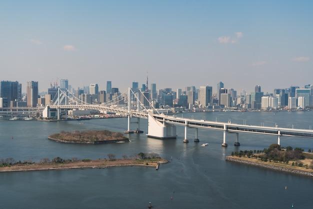 東京のスカイラインとレインボーブリッジを望む東京湾。