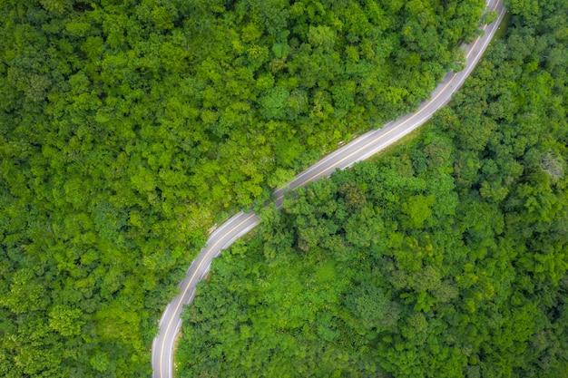 Вид с воздуха над горной дороге, проходящей через тропический лесной пейзаж в таиланде.