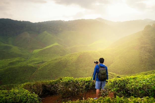 若い男の旅行者がマレーシアのクアラルンプールの近くのキャメロンハイランドの茶畑を楽しんでいる山茶畑の写真を撮る
