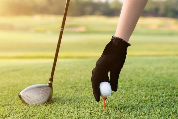 ゴルフボールとティーを置く手。ゴルフ場のボール、ゴルフコース