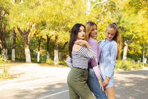 夏秋休暇、休日、旅行、人々の概念 - 公園の若い女性のグループ