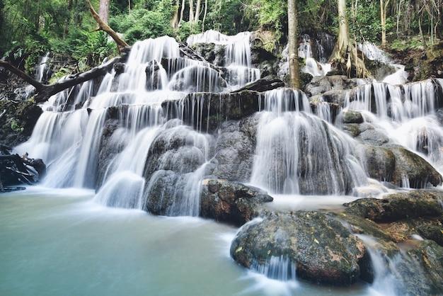 滝風景森林山と竹の木野生の熱帯の滝タイジャングル川ストリーム