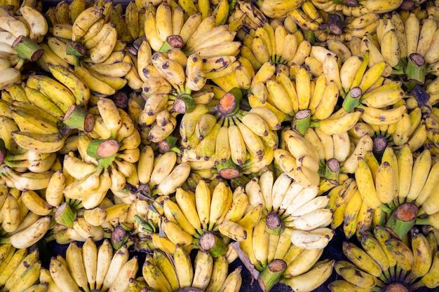 Урожай банан из органических садовых фруктов свежий банан текстура фон спелый культивируемый банан