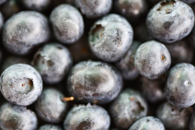 新鮮なブルーベリーテクスチャ - トップビューマクロフルーツのクローズアップ