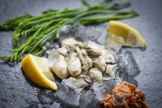 シーフードレストランで野菜とレモンのハーブと暗いプレートと氷のオイスターサラダで新鮮なカキを提供