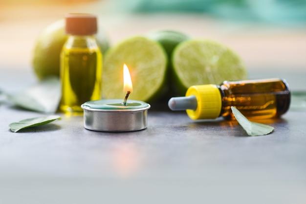 アロマセラピーハーブオイルボトルライムレモンエッセンシャルオイルと香り