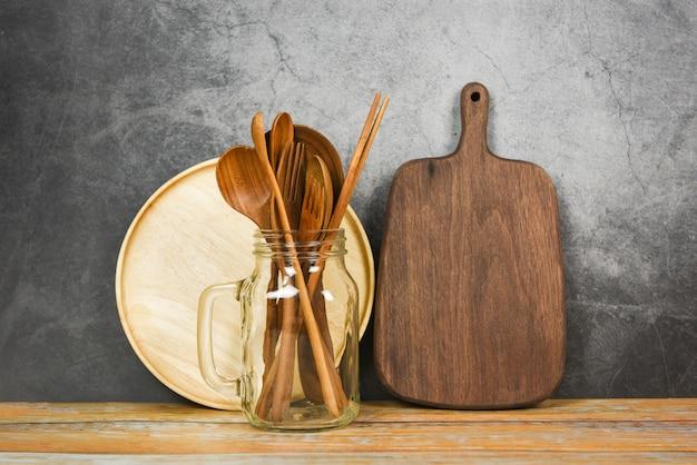 ナチュラルキッチンツール木製品/スプーンフォーク箸プレートまな板オブジェクト道具木製コンセプトのキッチン用品