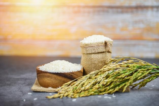 Тайский рис белый на миске и мешочке - сырое жасминовое рисовое зерно с колосьями рисовых полей сельскохозяйственная продукция для еды по-азиатски
