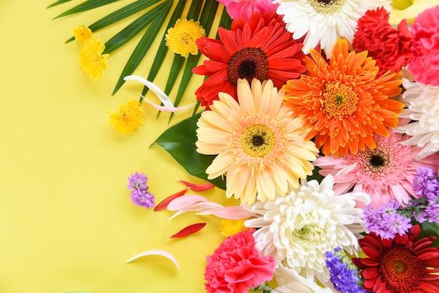 春カラフルな花熱帯植物ガーベラ菊