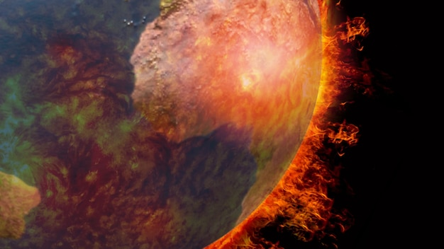火で燃える地球