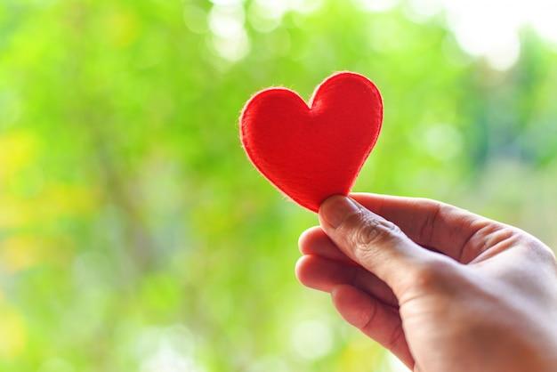 Женщина держит красное сердце в руках на размытом фоне