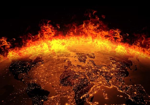 火で燃えている地球