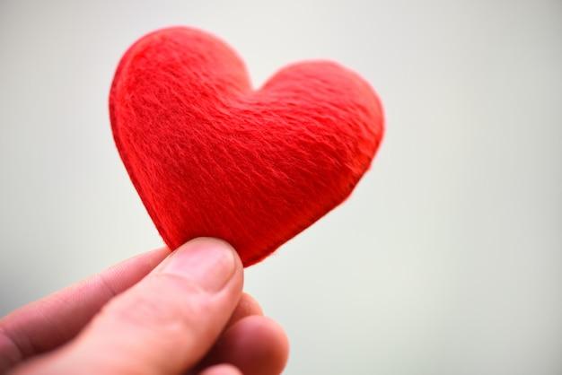バレンタインデーのための手でピンクのハートを保持している女性または寄付を助ける愛の暖かさを与える-慈善の概念のための手に心
