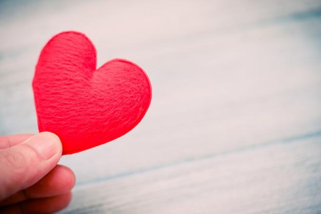 心を持った手は、愛の慈善事業に寄付をし、バレンタインデーの暖かさを大切にします。