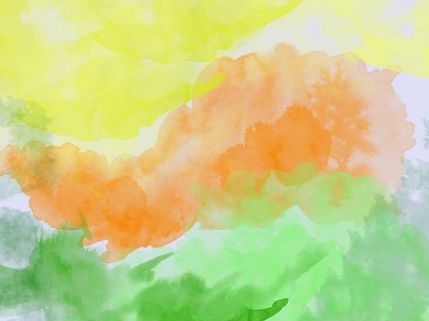 Акварельный фон абстрактный желтый оранжевый зеленый акварель
