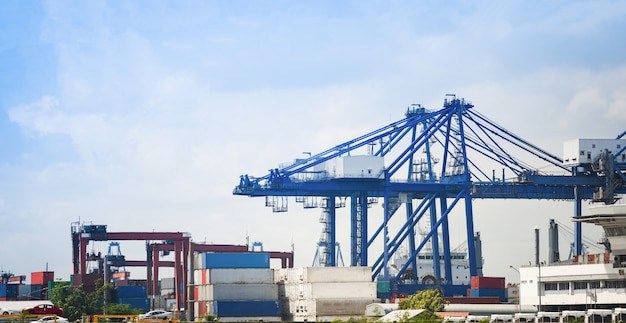 輸出車の輸入と物流業界の水輸送における出荷貨物クレーンとコンテナ船