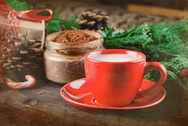 Чашка домашнего рождества горячий шоколад