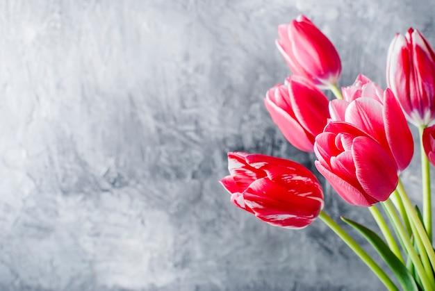 灰色の背景にピンクのチューリップのクローズアップの花束。